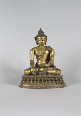 <em>Seated Buddha</em>, 15th century. Gilt bronze, 8 1/2 x 7 1/8 x 4 in. (21.6 x 18.1 x 10.2 cm). Brooklyn Museum, Gift of Jeffrey Kossak, 78.255.2. Creative Commons-BY (Photo: Brooklyn Museum, 78.255.2_PS5.jpg)