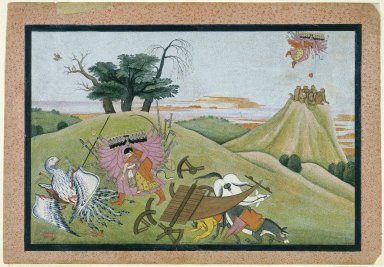 Indian. <em>The Abduction of Sita, Page from an illustrated manuscript of the Ramayana</em>, ca. 1775. Opaque watercolor, silver, and gold on paper, sheet: 9 3/4 x 14 1/16 in.  (24.8 x 35.7 cm). Brooklyn Museum, Anonymous gift, 78.256.3 (Photo: Brooklyn Museum, 78.256.3_IMLS_SL2.jpg)