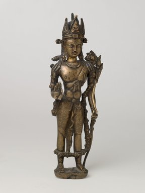 <em>Bodhisattva Padmapani</em>, 11th-12th century. Bronze, 11 1/4 x 3 9/16 x 2 3/8 in. (28.5 x 9 x 6 cm). Brooklyn Museum, Gift of Mr. and Mrs. John Kossak, 78.256.4. Creative Commons-BY (Photo: Brooklyn Museum, 78.256.4_front_PS6.jpg)