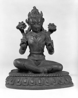 <em>The Sun God Surya</em>, 13th-14th century. Bronze, 5 1/4 x 4 1/2 in.  (13.3 x 11.4 cm). Brooklyn Museum, Gift of Mr. and Mrs. John Kossak, 78.256.6. Creative Commons-BY (Photo: Brooklyn Museum, 78.256.6_bw.jpg)