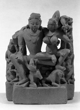 <em>Uma-mahesvara</em>, ca. 11th century. Cream sandstone, 19 x 15 x 8 3/4 in.  (48.3 x 38.1 x 22.2 cm). Brooklyn Museum, Gift of Anthony A. Manheim, 78.258.2. Creative Commons-BY (Photo: Brooklyn Museum, 78.258.2_bw.jpg)