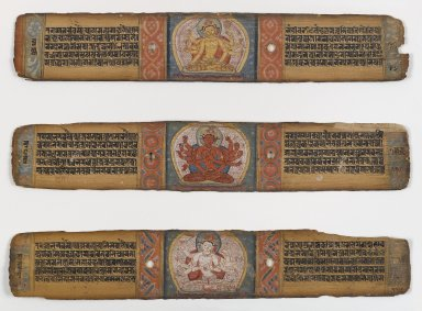 <em>Three Illustrated Palm Leaves from a Pancharaksha Manuscript</em>, 11th-12th century. Opaque watercolors and ink on palm leaves, Each: 2 1/2 x 12 3/4 in. (6.4 x 32.4 cm). Brooklyn Museum, Gift of Mr. and Mrs. Robert L. Poster, 78.260.3 (Photo: Brooklyn Museum, 78.260.3_PS4.jpg)