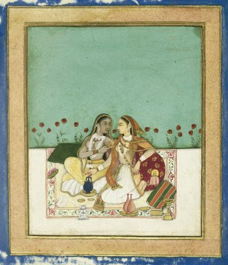 Indian. <em>Two Women on a Terrace</em>, ca. after 1700. Opaque watercolor and gold on paper, sheet: 8 x 7 3/4 in.  (20.3 x 19.7 cm). Brooklyn Museum, Gift of Mr. and Mrs. Robert L. Poster, 78.260.4 (Photo: Brooklyn Museum, 78.260.4_IMLS_SL2.jpg)