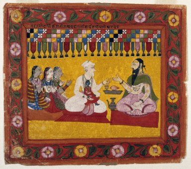 Indian. <em>Nanda Requests a Horoscope for Krishna, Page from a Bhagavata Purana series</em>, ca. 1725. Opaque watercolor and gold on paper, sheet: 9 1/8 x 10 1/2 in.  (23.2 x 26.7 cm). Brooklyn Museum, Gift of Mr. and Mrs. Robert L. Poster, 78.260.5 (Photo: Brooklyn Museum, 78.260.5_IMLS_SL2.jpg)