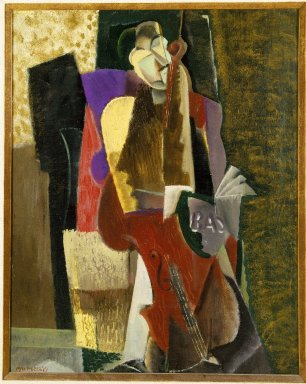 Max Weber (American, born Russia, 1881-1961). <em>The Cellist</em>, 1917. Oil on canvas, 16 1/8 x 20 1/8in. (41 x 51.1cm). Brooklyn Museum, Gift of Mrs. Edward Rosenberg, 78.267 (Photo: Brooklyn Museum, 78.267_SL1.jpg)