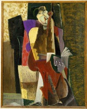 Max Weber (American, born Russia, 1881-1961). <em>The Cellist</em>, 1917. Oil on canvas, 16 1/8 x 20 1/8in. (41 x 51.1cm). Brooklyn Museum, Gift of Mrs. Edward Rosenberg, 78.267 (Photo: Brooklyn Museum, 78.267_SL1.jpg)