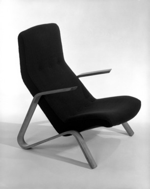 "Eero Saarinen (American, born Finland, 1910-1961). <em>""Grasshopper"" Highback Armchair</em>, Designed ca. 1947, Manufactured ca. 1948. Bentwood, wool, 35 1/2 x 25 3/8 in. (90.2 x 64.5 cm). Brooklyn Museum, Gift of Dr. Aaron H. Esman, 78.2. Creative Commons-BY (Photo: Brooklyn Museum, 78.2_bw_IMLS.jpg)"