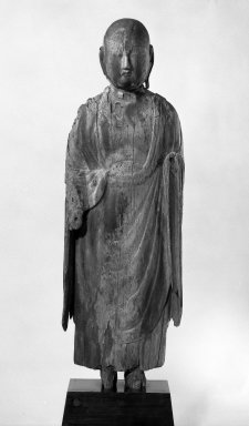 Heian. <em>Jizo Bosatsu (Ksitigarbha Bodhisattva)</em>, late 10th-early 11th century. Wood, Other (sculpture without base): 49 x 15 x 9 1/4 in. (124.5 x 38.1 x 23.5 cm). Brooklyn Museum, Gift of Dr. Roger Stoll, 78.43. Creative Commons-BY (Photo: Brooklyn Museum, 78.43_bw.jpg)