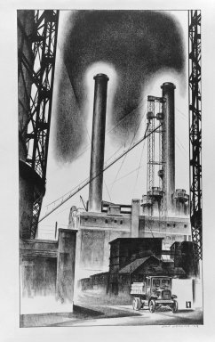 Louis Lozowick (American, born Russia, 1892-1973). <em>Edison Plant</em>, 1929. Lithograph on wove paper, Sheet: 15 3/4 x 11 1/4 in. (40 x 28.6 cm). Brooklyn Museum, Bequest of Samuel Zachary Gitlin, 78.54.6. © artist or artist's estate (Photo: Brooklyn Museum, 78.54.6_bw.jpg)