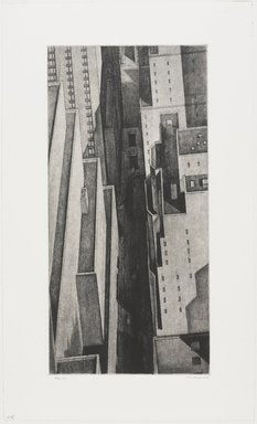 Armin Landeck (American, 1905-1984). <em>Manhattan Canyon</em>, 1934. Drypoint on wove paper, Sheet: 17 11/16 x 10 9/16 in. (45 x 26.8 cm). Brooklyn Museum, Designated Purchase Fund, 78.62.1. © artist or artist's estate (Photo: , 78.62.1_PS9.jpg)