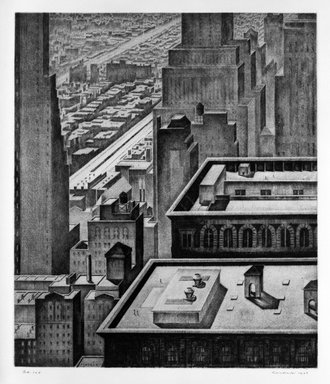 Armin Landeck (American, 1905-1984). <em>Manhattan Vista</em>, 1934. Drypoint, Sheet: 14 3/4 x 13 9/16 in. (37.5 x 34.5 cm). Brooklyn Museum, Designated Purchase Fund, 78.62.2. © artist or artist's estate (Photo: Brooklyn Museum, 78.62.2_bw.jpg)