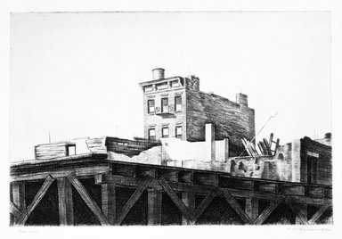 Armin Landeck (American, 1905-1984). <em>Demolition No. 1</em>, 1940. Drypoint, Sheet: 9 7/8 x 12 3/4 in. (25.1 x 32.4 cm). Brooklyn Museum, Designated Purchase Fund, 78.62.4. © artist or artist's estate (Photo: Brooklyn Museum, 78.62.4_bw.jpg)