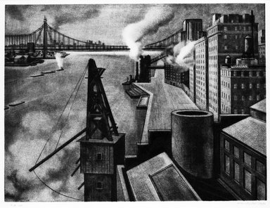 Armin Landeck (American, 1905-1984). <em>East River Drive</em>, 1941. Copper Engraving on wove paper, Sheet: 14 7/8 x 17 7/8 in. (37.8 x 45.4 cm). Brooklyn Museum, Designated Purchase Fund, 78.62.5. © artist or artist's estate (Photo: Brooklyn Museum, 78.62.5_bw.jpg)