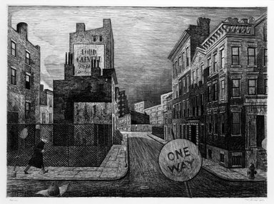 Armin Landeck (American, 1905-1984). <em>One-Way Street</em>, 1950. Copper Engraving on wove Italian paper, Sheet: 14 5/16 x 18 11/16 in. (36.4 x 47.5 cm). Brooklyn Museum, Designated Purchase Fund, 78.62.8. © artist or artist's estate (Photo: Brooklyn Museum, 78.62.8_bw.jpg)