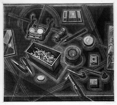 Armin Landeck (American, 1905-1984). <em>Engraver's Tools</em>, 1947. Copper Engraving, Sheet: 19 3/4 x 21 1/2 in. (50.2 x 54.6 cm). Brooklyn Museum, Designated Purchase Fund, 78.62.9. © artist or artist's estate (Photo: Brooklyn Museum, 78.62.9_bw.jpg)