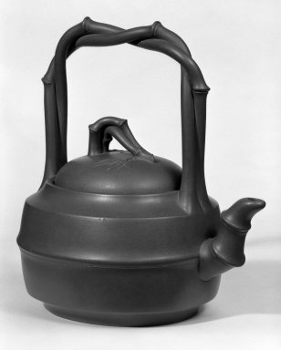 "<em>Teapot</em>, ca. 1950. ""Purple clay"" (zisha) earthenware., 8 5/8 x 8 1/2 in. (21.9 x 21.6 cm). Brooklyn Museum, Gift of Robert H. Ellsworth, 78.84.1. Creative Commons-BY (Photo: Brooklyn Museum, 78.84.1_bw.jpg)"