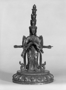 <em>Eleven-Headed Avalokiteshvara</em>, 18th century. Wood, lacquer, gold paint, 15 3/8 x 8 1/4 in. (39.1 x 21 cm). Brooklyn Museum, Designated Purchase Fund, 78.88. Creative Commons-BY (Photo: Brooklyn Museum, 78.88_front_bw.jpg)