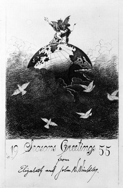John W. Winkler (American, born Austria, 1890-1979). <em>Season's Greetings Card</em>, 1955. Etching on paper, sheet: 8 x 5 5/8 in. (20.3 x 14.3 cm). Brooklyn Museum, Gift of the artist, 78.97.13. © artist or artist's estate (Photo: Brooklyn Museum, 78.97.13_bw.jpg)