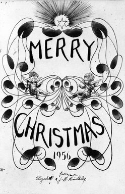John W. Winkler (American, born Austria, 1890-1979). <em>Season's Greetings Card</em>, 1956. Etching on paper, sheet: 8 5/8 x 6 3/8 in. (21.9 x 16.2 cm). Brooklyn Museum, Gift of the artist, 78.97.14. © artist or artist's estate (Photo: Brooklyn Museum, 78.97.14_bw.jpg)