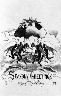 John W. Winkler (American, born Austria, 1890-1979). <em>Season's Greetings Card</em>, 1957. Etching on paper, sheet: 8 7/8 x 6 5/8 in. (22.5 x 16.8 cm). Brooklyn Museum, Gift of the artist, 78.97.16. © artist or artist's estate (Photo: Brooklyn Museum, 78.97.16_bw.jpg)
