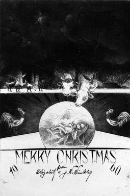 John W. Winkler (American, born Austria, 1890-1979). <em>Season's Greetings Card</em>, 1960. Etching on paper, sheet: 7 3/4 x 6 1/8 in. (19.7 x 15.6 cm). Brooklyn Museum, Gift of the artist, 78.97.19. © artist or artist's estate (Photo: Brooklyn Museum, 78.97.19_bw.jpg)