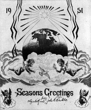 John W. Winkler (American, born Austria, 1890-1979). <em>Season's Greetings Card</em>, 1951. Etching on paper, sheet: 8 x 6 in. (20.3 x 15.2 cm). Brooklyn Museum, Gift of the artist, 78.97.9. © artist or artist's estate (Photo: Brooklyn Museum, 78.97.9_bw.jpg)