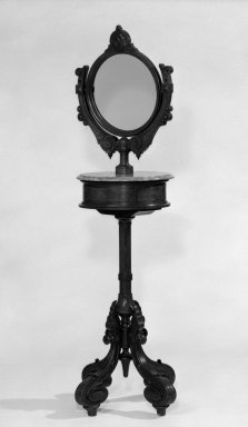 American. <em>Shaving Stand, Base, Drawer, Top, Mirror and Screw</em>, ca. 1870. Walnut, marble, 69 1/2 in. (176.5 cm). Brooklyn Museum, Gift of Mrs. James Cole, 79.10.1a-e. Creative Commons-BY (Photo: Brooklyn Museum, 79.10.1a-e_bw.jpg)