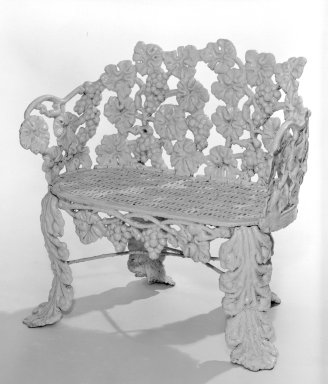 American. <em>Settee</em>, ca. 1850. Cast iron, 29 1/2 x 30 x 13 1/4 in. (74.9 x 76.2 x 33.7 cm). Brooklyn Museum, Gift of Mrs. James A. Cole, 79.10.2. Creative Commons-BY (Photo: Brooklyn Museum, 79.10.2_bw.jpg)