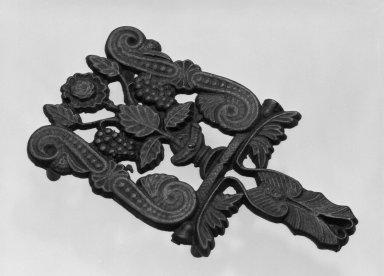 American. <em>Trivet</em>, ca. 1850. Cast iron, black, 4 3/4 x 8 3/4 in. (12.1 x 22.2 cm). Brooklyn Museum, Gift of Mrs. James Cole, 79.10.8. Creative Commons-BY (Photo: Brooklyn Museum, 79.10.8_bw.jpg)