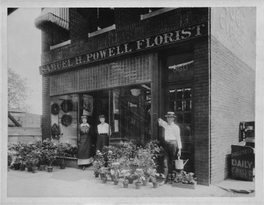 American. <em>Samuel H. Powell Florist (850 Jamaica Avenue)</em>, ca. 1910. Photograph in sepia, 6 x 8 in.  (15.2 x 20.3 cm). Brooklyn Museum, Gift of Herbert D. Wallace, 79.107.2 (Photo: Brooklyn Museum, 79.107.2_bw.jpg)