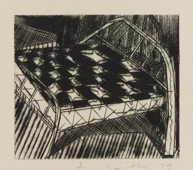 Scott Smith (American, born 1951). <em>[Untitled] (Bed)</em>, 1979. Engraving on plexiglass, sheet: 7 1/2 x 8 1/4 in.  (19.1 x 21.0 cm);. Brooklyn Museum, Designated Purchase Fund, 79.113.1. © artist or artist's estate (Photo: Brooklyn Museum, 79.113.1_PS4.jpg)