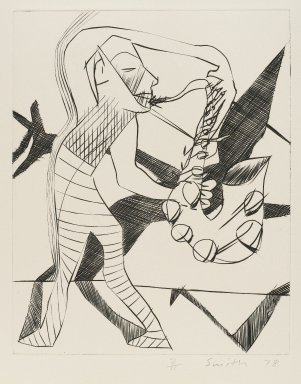 Scott Smith (American, born 1951). <em>[Untitled] (Sax Player)</em>, 1978. Engraving on plexiglass, sheet: 12 1/2 x 10 1/2 in.  (31.8 x 26.7 cm);. Brooklyn Museum, Designated Purchase Fund, 79.113.3. © artist or artist's estate (Photo: Brooklyn Museum, 79.113.3_PS4.jpg)