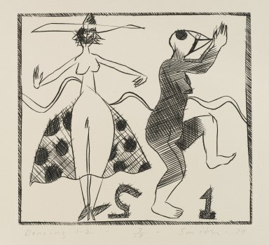 Scott Smith (American, born 1951). <em>Dancing 1-2</em>, 1979. Engraving on plexiglass, sheet: 11 1/4 x 11 7/8 in.  (28.6 x 30.2 cm);. Brooklyn Museum, Designated Purchase Fund, 79.113.4. © artist or artist's estate (Photo: Brooklyn Museum, 79.113.4_PS4.jpg)