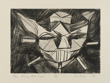 Scott Smith (American, born 1951). <em>The Fire Eater</em>, 1978. Engraving on plexiglass, sheet: 7 1/2 x 9 1/2 in.  (19.1 x 24.1 cm);. Brooklyn Museum, Designated Purchase Fund, 79.113.5. © artist or artist's estate (Photo: Brooklyn Museum, 79.113.5_PS4.jpg)