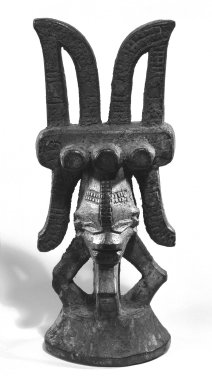 Igbo, Okoba. <em>Figure (Ikenga)</em>, early 20th century. Wood, 8 1/4in. (21cm). Brooklyn Museum, Gift of Mr. and Mrs. Uzi Zucker, 79.117.1. Creative Commons-BY (Photo: Brooklyn Museum, 79.117.1_bw.jpg)