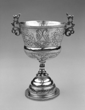 <em>Chalice</em>. Silver, 8 5/8 x 5 7/8 in. Brooklyn Museum, Gift of Mrs. Harold J. Roig in memory of Harold J. Roig, 79.123.3. Creative Commons-BY (Photo: Brooklyn Museum, 79.123.3_view1_bw.jpg)