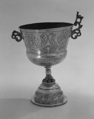 <em>Chalice</em>, 19th century. Metal; silver, 8 5/8 x 5 7/8 x 4 1/4 in. (21.9 x 14.9 x 10.8 cm). Brooklyn Museum, Gift of Mrs. Harold J. Roig in memory of Harold J. Roig, 79.123.4. Creative Commons-BY (Photo: Brooklyn Museum, 79.123.4_view1_bw.jpg)