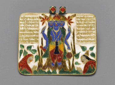 <em>Brahma Pendant</em>, late 18th century. Champleve enamel on gold, 1 3/8 x 1 3/4 in. (3.5 x 4.5 cm). Brooklyn Museum, Gift of Mrs. Nasli Heeramaneck, 79.126. Creative Commons-BY (Photo: Brooklyn Museum, 79.126_front_PS2.jpg)