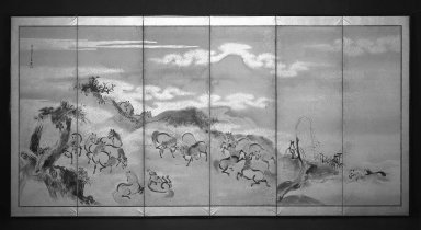 Kano Isen'in (Japanese, 1775-1828). <em>Horses at Play</em>, 1788. Six-panel screen, ink, paper, gold fleck, Each of 6 panels: 23 x 69 in. (58.4 x 175.3 cm). Brooklyn Museum, Gift of Dr. B. H. Kean, 79.127. Creative Commons-BY (Photo: Brooklyn Museum, 79.127_bw.jpg)