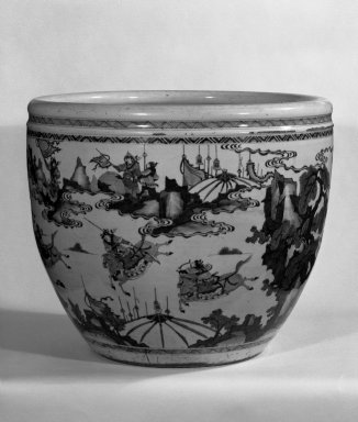 <em>Monumental Bowl</em>, 1662-1722. Porcelain with cobalt underglaze decoration, Other: 18 3/8 x 21 1/2in. (46.7 x 54.6cm). Brooklyn Museum, Gift of Mrs. Harold J. Roig, 79.128. Creative Commons-BY (Photo: Brooklyn Museum, 79.128_bw.jpg)