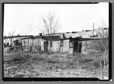 Lewis Wickes Hine (American, 1874-1940). <em>[Untitled] (Shanties and Leafless Trees)</em>, 1936-1937. Gelatin silver photograph, 4 3/4 x 7 1/4 in.  (12.1 x 18.4 cm). Brooklyn Museum, Gift of the National Archives, 79.143.56 (Photo: Brooklyn Museum, 79.143.56_bw.jpg)