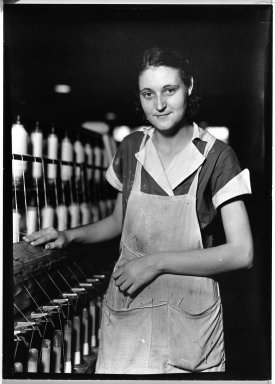 Lewis Wickes Hine (American, 1874-1940). <em>[Untitled] (Thread Worker)</em>, 1936-1937. Gelatin silver photograph, 7 1/4 x 4 3/4 in. (18.4 x 12.1 cm). Brooklyn Museum, Gift of the National Archives, 79.143.69 (Photo: Brooklyn Museum, 79.143.69_bw.jpg)