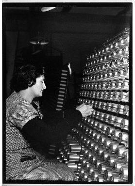 Lewis Wickes Hine (American, 1874-1940). <em>[Untitled] (Women Preparing Thread)</em>, 1936-1937. Gelatin silver photograph, 7 1/4 x 4 3/4 in. (18.4 x 12.1 cm). Brooklyn Museum, Gift of the National Archives, 79.143.77 (Photo: Brooklyn Museum, 79.143.77_bw.jpg)