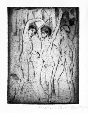 Arthur B. Davies (American, 1862-1928). <em>Three Boys</em>, 1917. Drypoint on laid paper, Sheet: 6 11/16 x 5 1/8 in. (17 x 13 cm). Brooklyn Museum, Gift of Mr. and Mrs. Morton Ostrow, 79.144.1 (Photo: Brooklyn Museum, 79.144.1_bw.jpg)
