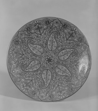 "Worcester Royal Porcelain Co. (founded 1751). <em>Dessert Plate</em>, ca. 1881. Porcelain, ""pencil"" and gilt decoration, 9 in. (22.9 cm). Brooklyn Museum, Gift of Dr. and Mrs. George Liberman, 79.170.1. Creative Commons-BY (Photo: Brooklyn Museum, 79.170.1_bw.jpg)"