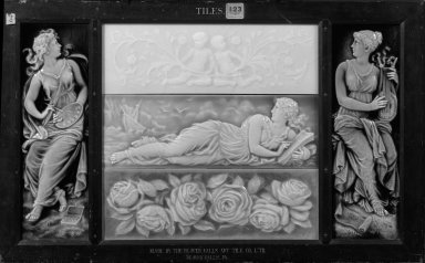 Isaac Broome. <em>Tile</em>, ca. 1880. Ceramic Brooklyn Museum, H. Randolph Lever Fund, 79.173.2 (Photo: , 79.173.1-.5_bw.jpg)