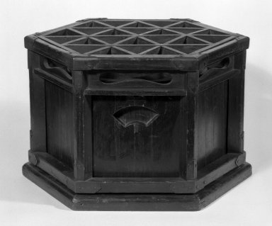 <em>Charcoal Brazier with Support for Quilted Coverlet (Kotatasu)</em>, 19th century. Wood, bronze, copper, height (unextended): 7 1/2 in. (19.1 cm);. Brooklyn Museum, Gift of Sidney B. Cardozo, Jr., 79.178.7. Creative Commons-BY (Photo: Brooklyn Museum, 79.178.7_bw.jpg)