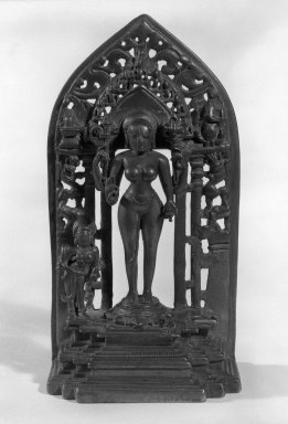 <em>Shiva's Consort</em>, 10th century. Bronze, 8 1/2 x 3 1/16 x 4 1/2 in. (21.6 x 7.8 x 11.5 cm). Brooklyn Museum, Gift of Henry Feinberg, 79.179.1. Creative Commons-BY (Photo: Brooklyn Museum, 79.179.1_bw.jpg)