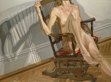 Philip Pearlstein (American, born 1924). <em>Female Model on Platform Rocker</em>, 1977-1978. Oil on canvas, 72 1/4 x 96 1/8 in.  (183.5 x 244.2 cm). Brooklyn Museum, Designated Purchase Fund, Dick S. Ramsay Fund, Exxon Income Fund, Healy Purchase Fund B, John B. Woodward Memorial Fund, and Restricted Contributions, 79.17. © artist or artist's estate (Photo: Brooklyn Museum, 79.17_SL1.jpg)