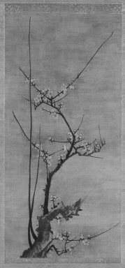 Kenko Shokei (Japanese, flourished ca. 1478-1506). <em>Blossoming Plum</em>, 16th century. Hanging scroll, ink on paper, Image: 28 3/8 x 13 1/2 in. (72.1 x 34.3 cm). Brooklyn Museum, Gift of Mr. and Mrs. Robert Feinberg, 79.180.1 (Photo: Brooklyn Museum, 79.180.1_bw_IMLS.jpg)